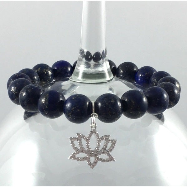 Terra Charmed Lapis Bead Bracelet with CZ Lotus Charm