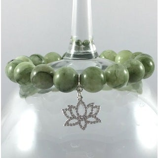 Terra Charmed Green Agate Bead Bracelet with CZ Lotus Charm
