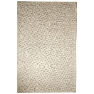 Contemporary Tribal Pattern Ivory/White Wool Area Rug (9' x 12')