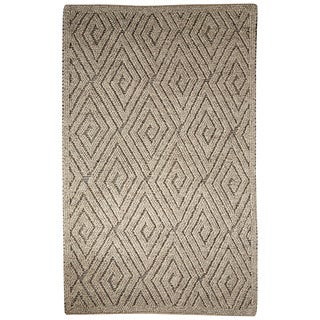 Contemporary Tribal Pattern Ivory/Gray Wool Area Rug (8' x 10')