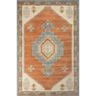 Contemporary Tribal Pattern Red/Blue Wool Area Rug (9' x 12')