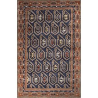 Contemporary Tribal Pattern Blue/Orange Wool Area Rug (8' x 11')