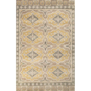 Contemporary Tribal Pattern Gray/Yellow Wool Area Rug (8' x 11')