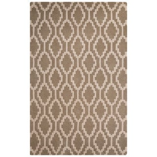 Contemporary Tribal Pattern Beige/Ivory Wool Area Rug (8' x 10')