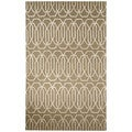 Contemporary Trellis, Chain And Tile Pattern Gray/Ivory Wool and Art Silk Area Rug (8' x 10')