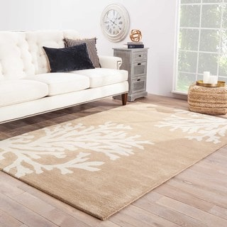 Contemporary Coastal Pattern Taupe/Ivory Wool Area Rug (10' x 14')