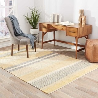 Flatweave Stripes Pattern Yellow/Gray Cotton Area Rug (8' x 10')