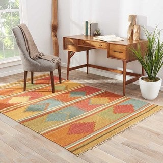 Flatweave Tribal Pattern Red/Multi Wool Area Rug (9' x 12')