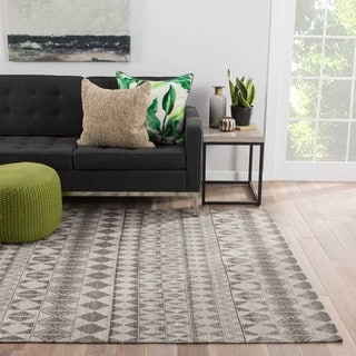 Flatweave Tribal Pattern Gray/Black Wool Area Rug (5' x 8')
