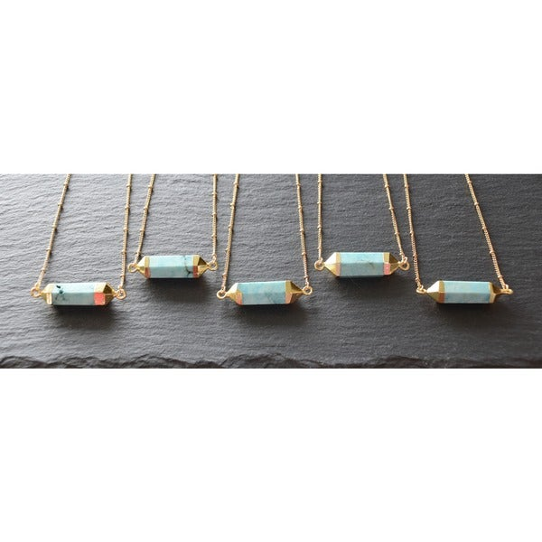 Mint Jules Turquoise Stone Hexagon Horizontal Bar with 24k Gold Overlay Pendant Necklace