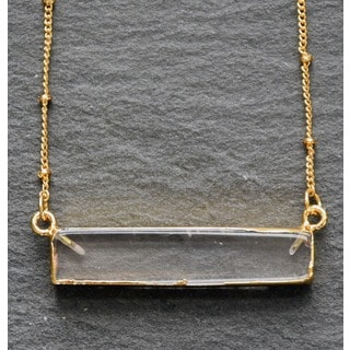 Mint Jules Natural Quartz Crystal Horizontal Bar with 24k Gold Overlay Necklace