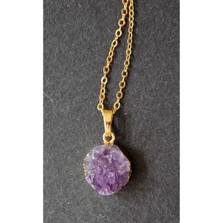 Mint Jules Raw Cluster Round Amethyst Geode Druzy Pendant 24k Gold Plated Necklace