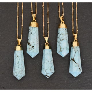 Mint Jules Turquoise Stone Point with 24k Gold Overlay Pendant Necklace