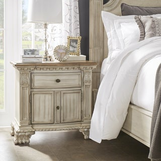 Ellina Washed White Finish European-Style Accent End Table