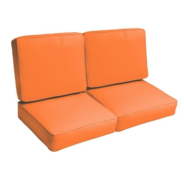 Sloane Bright Orange 47-inch Indoor/ Outdoor Corded Loveseat Cushion Set