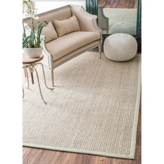 nuLOOM Casual Natural Fiber Solid Sisal/ Wool Border Rug (8'6 x 11'6)