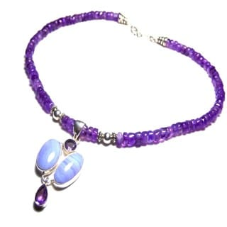 Genuine Sterling Silver Amethyst Crazy Agate Necklace
