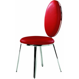 Belina Modern Stainless Steel and Red Leather Chair (Set of 2)