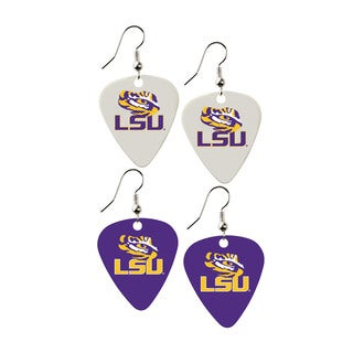 LSU Tigers NCAA Guitar Pick Dangle Earrings Charm Gift (Set of 2)