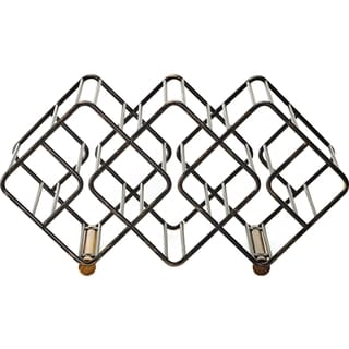 Stackable 12 Bottle Wine Rack W Antique Black Finish And Acacia Wood