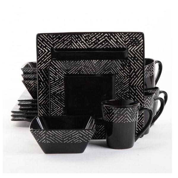 Gibson Elite Banbury 16-piece Black Dinnerware Set