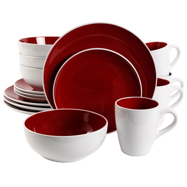 Gibson Chicstone 16-piece Red Dinnerware Set