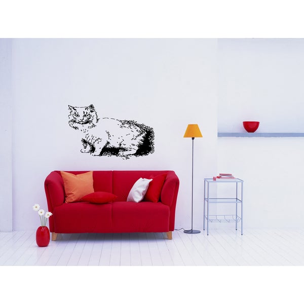 Cymric Cat housecat Wall Art Sticker Decal