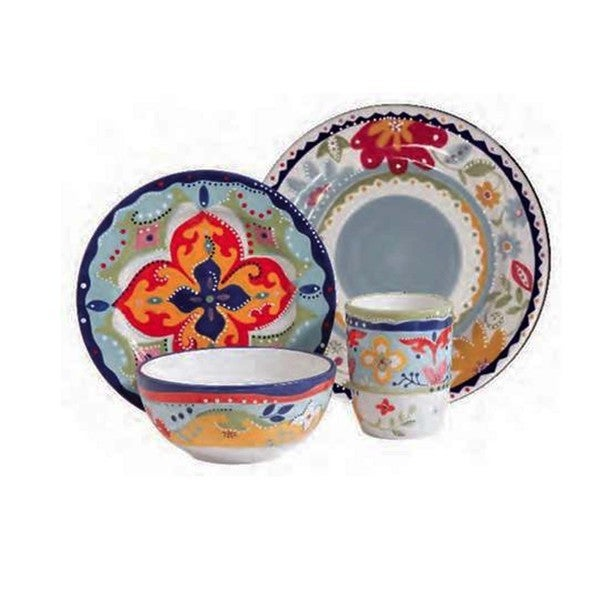 Gibson Elite Fiore Olivetti 4-piece Dinnerware Set
