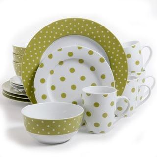 Gibsons Isaac Mizrahi Dot Luxe 16-piece Chartreuse Porcelain Dinnerware Set