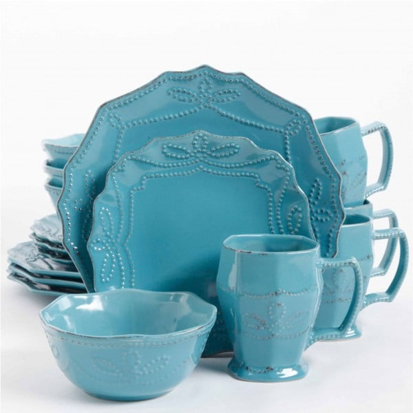 Turquoise Dinnerware Set 16pc Stoneware Kitchen Dining Dishes Plates ...