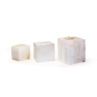 Hip Vintage Square Rock Crystal Votives (Set of 3)