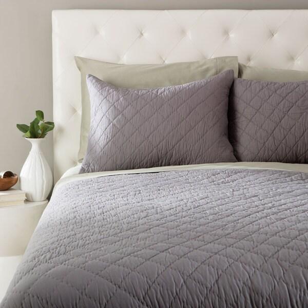 Andrew Charles Grey Block Pattern Cotton Sham