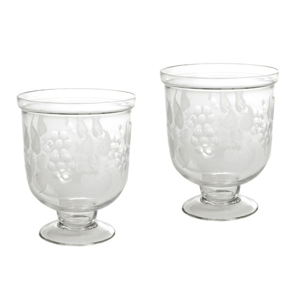 Vintage Hip Pair Of Small Antique Leaf Etched Hurricanes