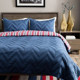 Andrew Charles Navy Chevron Pattern Cotton Quilt