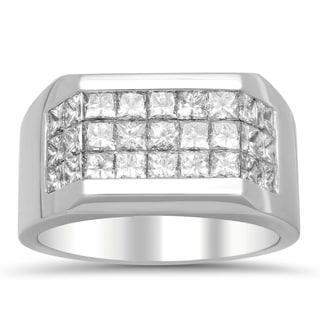 Artistry Collections 14k White Gold Men's 2 4/5ct TDW Diamond 3-row Ring (E-F, VS1-VS2)