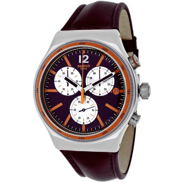 Swatch Men's YVS413 Prisoner Round Purple Leather Strap Watch
