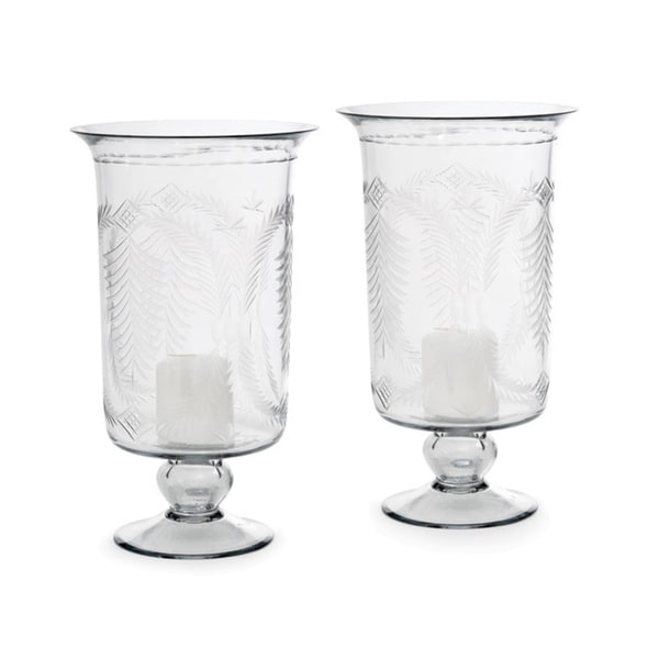 Vintage Hip Pair Of Tall Etched Hurricanes