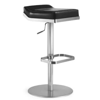 Dino Stainless Steel and Black Fiber Backless Stool