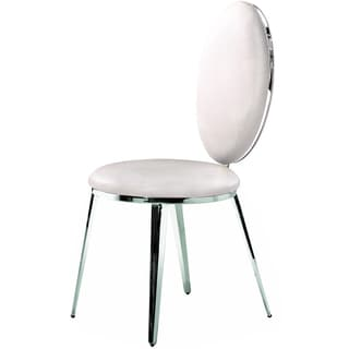 Belina Stainless Steel and White Leather Chair (Set of 2)