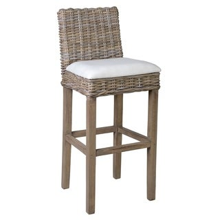Crafted Home Beatty Rattan Barstool With Upholstered Seat