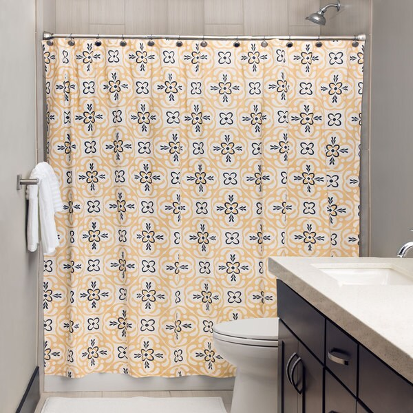 Andrew Charles Atlas Collection 72 Gold Grey Shower Curtain 18358207