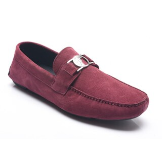 Versace Collection Men's Maroon Medusa Head Moccasins