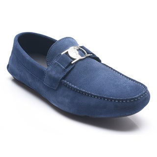 Men's Versace Collection Navy Medusa Head Moccasins