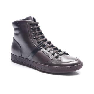 Z Zegna Men's Brown Leather High Top Sneaker