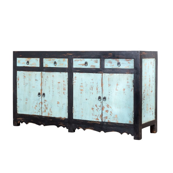 Distressed Black and Blue Mango Wood Sideboard