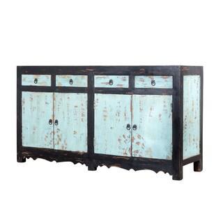 Distressed Black and Blue Mango Wood Sideboard