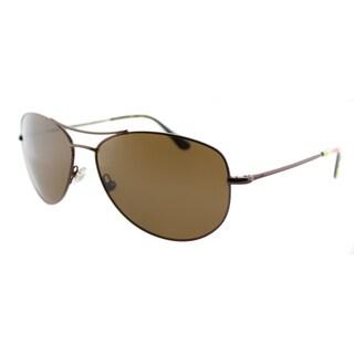 Kate Spade Ally P/S P40P Brown Metal Aviator Polarized Lens Sunglasses