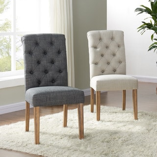 Melia Tufted Linen Side Chair (Set of 2)