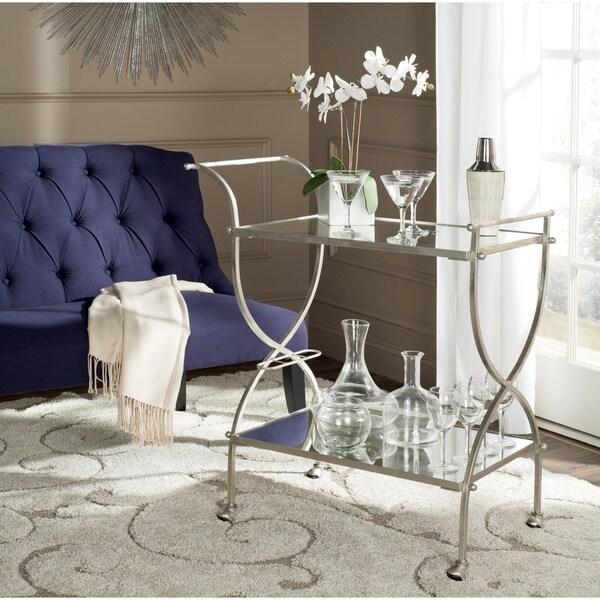 Safavieh Lucretius Silver/ Mirror Top Bar Cart