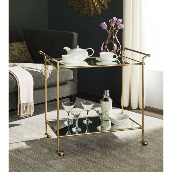 Safavieh Felicity Gold/ Mirror Top Bar Cart